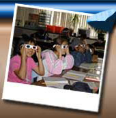 photo of students wearing 3D glasses
